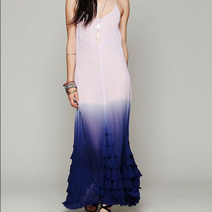 Free People Hazy Days Ombre Ruffle Tiered Slip